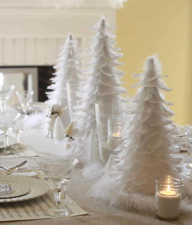 bianco Natale addobbi tavola alberelli bianchi