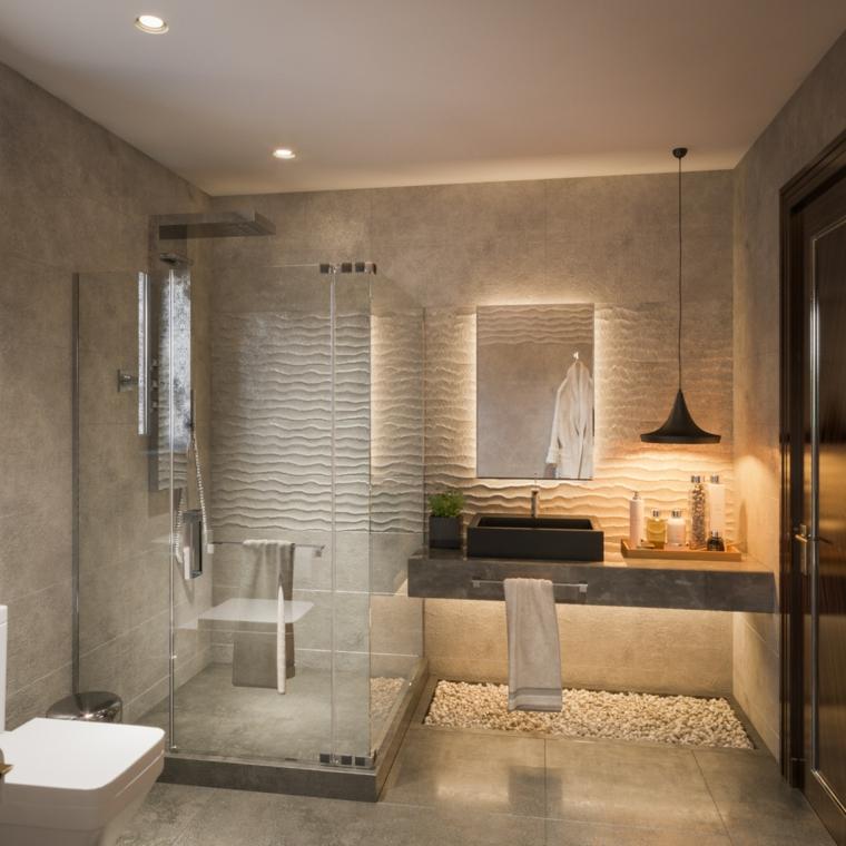 Bagni moderni grigi, sala da bagno con box doccia, pavimento con piastrelle grigie lucide