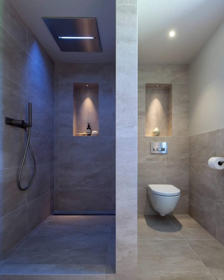 Doccia walk, nicchia in parete bagno, rivestimento piastrelle effetto pietra