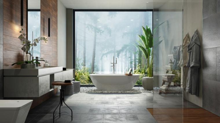 Mobile bagno legno grezzo, vasca freestanding forma ovale, rivestimento parete di legno