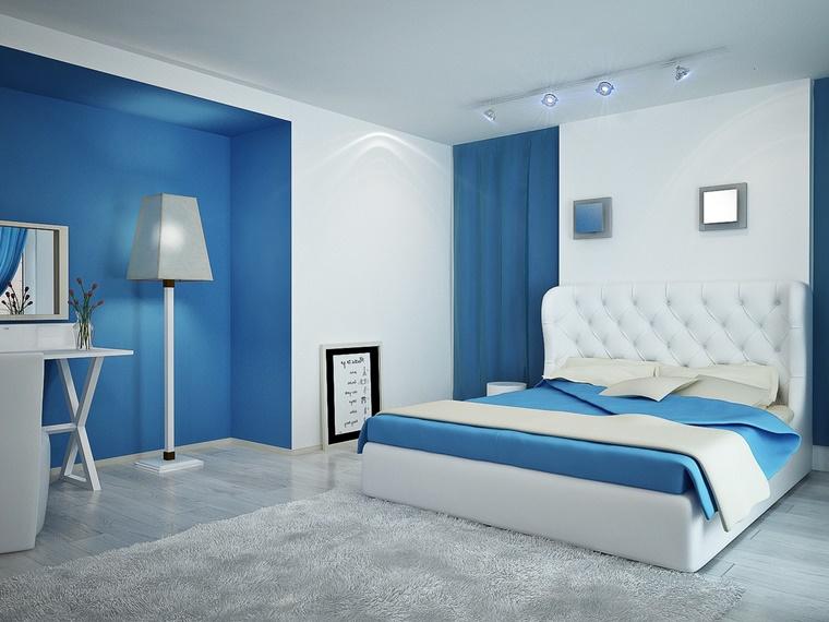 camera da letto moderna bianco blu