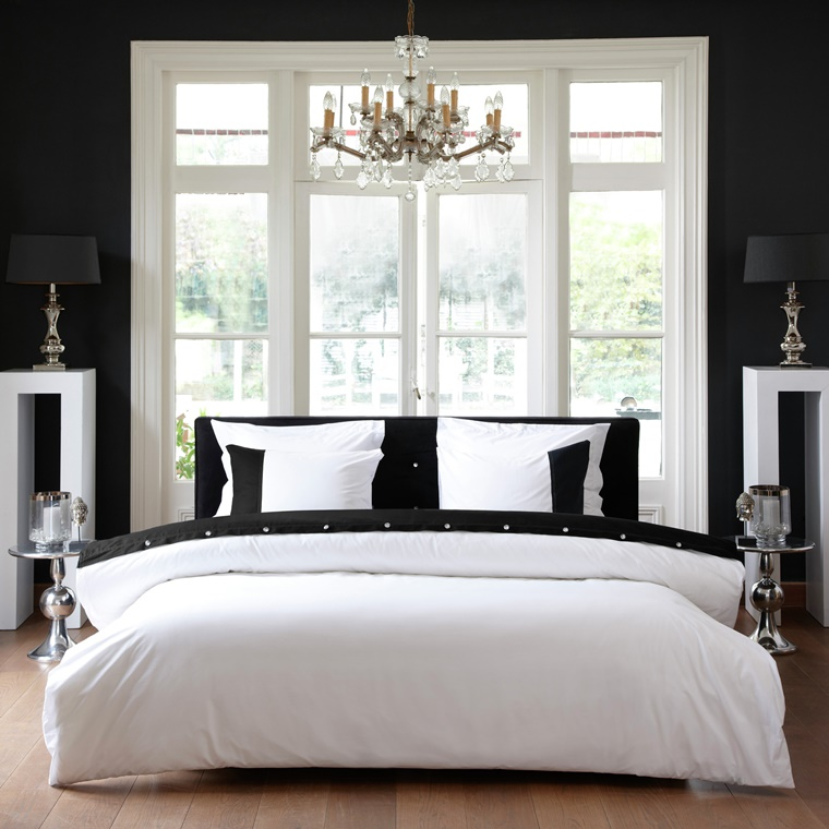 camera da letto moderna bianco nero