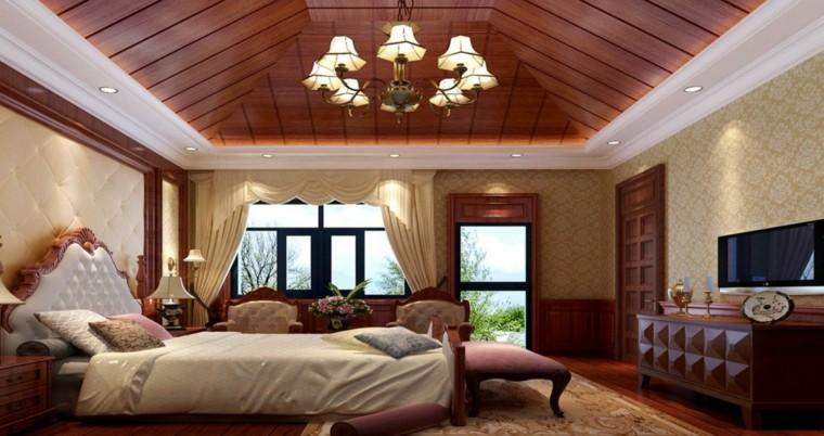 Illuminazione tetto in legno idee innovative e di stile - Lampadario camera da letto classica ...