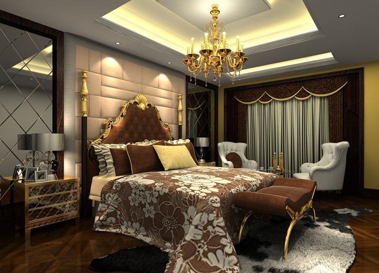 camera letto moderna lampadario stile classico panchetta lusso
