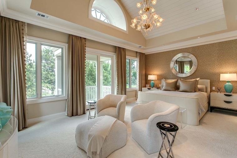 camera letto moderna poltrone bianche tappeto bianco