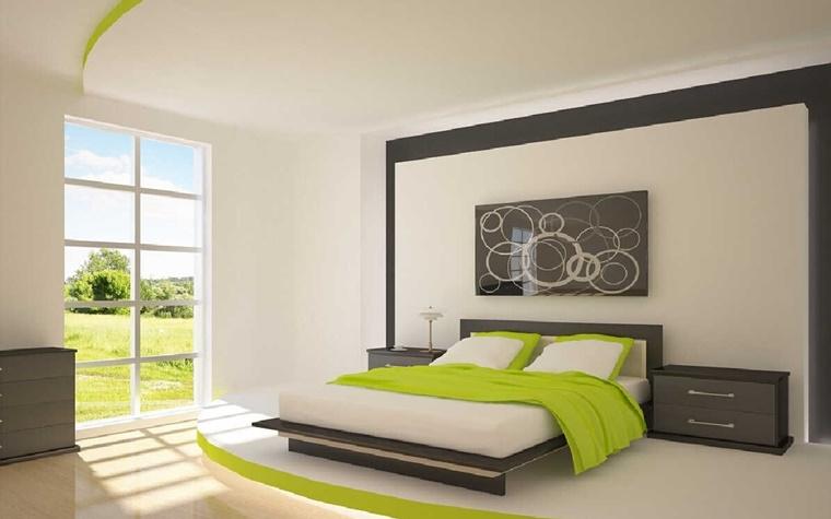 camera letto stile minimalista inserti colore verde
