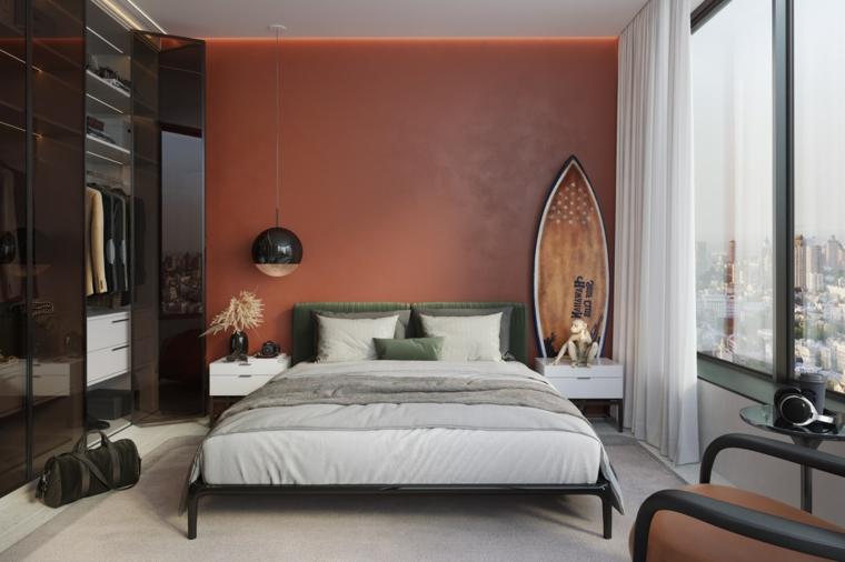 Camere matrimoniali moderne, parete di colore rosso, armadio con porte nere lucide, pavimento tappeto bianco