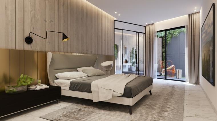 Stanze da letto moderne per ragazze, parete in legno, zona notte con terrazzo, tappeto grigio