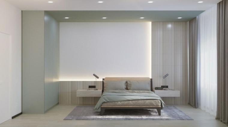 Progettare camera da letto, pareti di colore bianco, comodini in legno sospesi, tappeto grigio