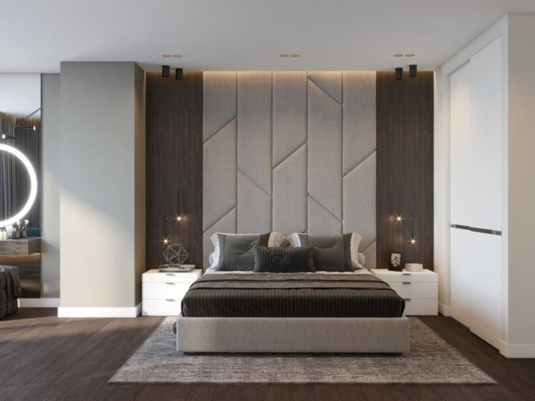 Parete con pannelli di legno, lampadine in sospensione, pavimento in legno scuro, stanze da letto moderne per ragazze