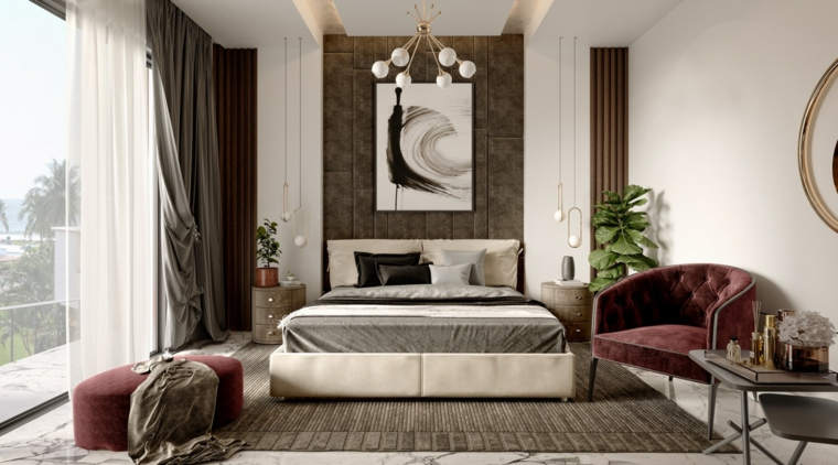 Idee per dipingere stanza da letto, parete con pannelli di legno, decorazione con quadri