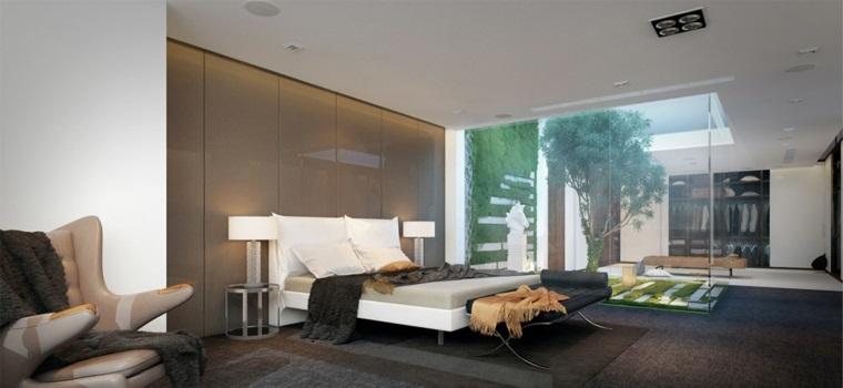 Camere da letto matrimoniali moderne, pareti bianche, parete con pannelli, pavimento con tappeto