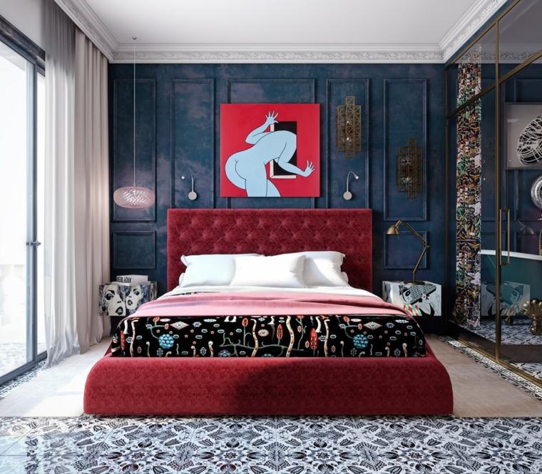 Idee per dipingere stanza da letto, parete di colore blu, lampadari in sospensione