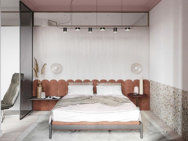 Camere da letto moderne bianche, testata letto in velluto, faretti sospesi, parete divisoria in vetro