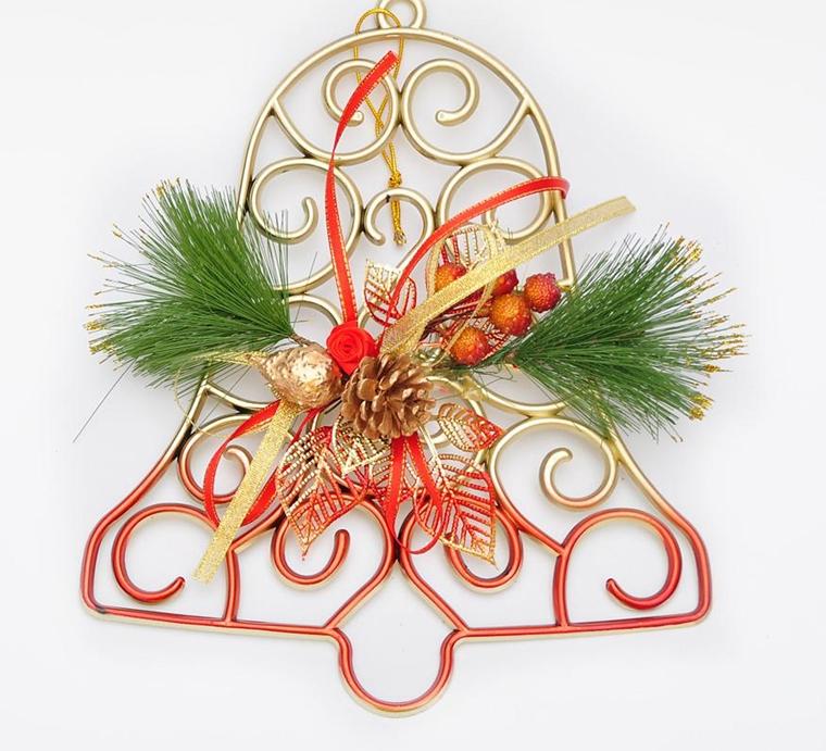 campanello rosso natalizio decorato abete pigne