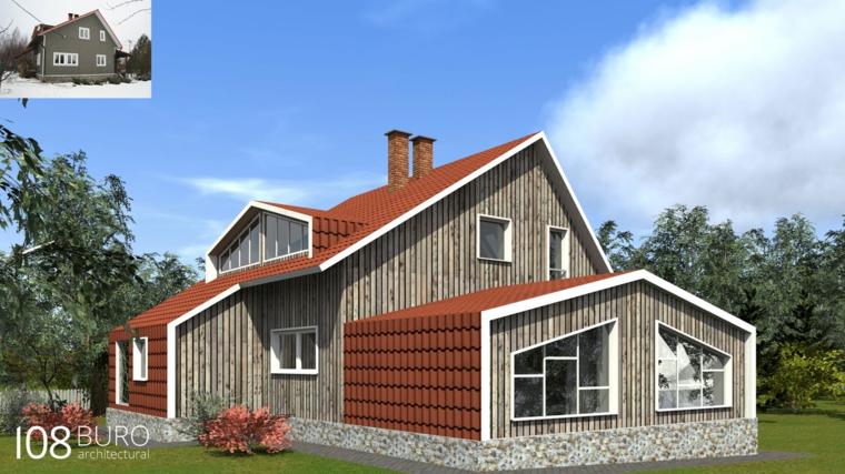 Stile moderno di buro 108 idee per la casa di legno for Ottenere una casa costruita