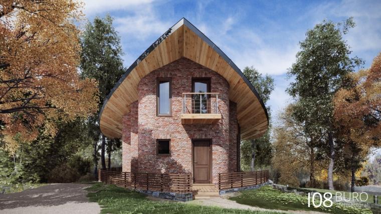 casa pietra rosa bianco legno porta stacchionata