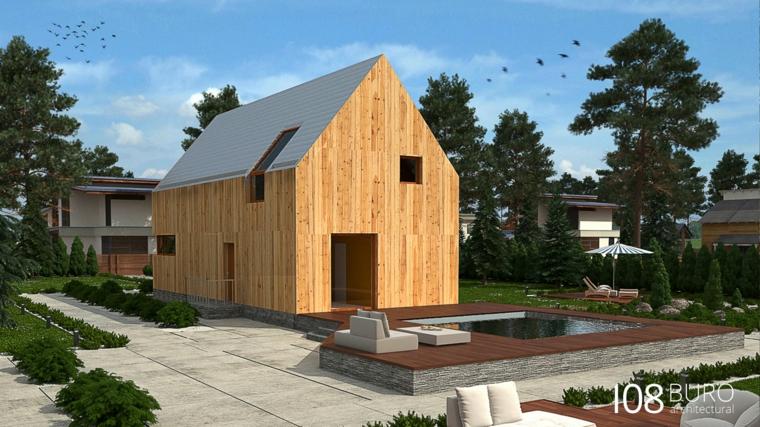 Stile moderno di buro 108 idee per la casa di legno for Planimetrie semplici della casetta di legno