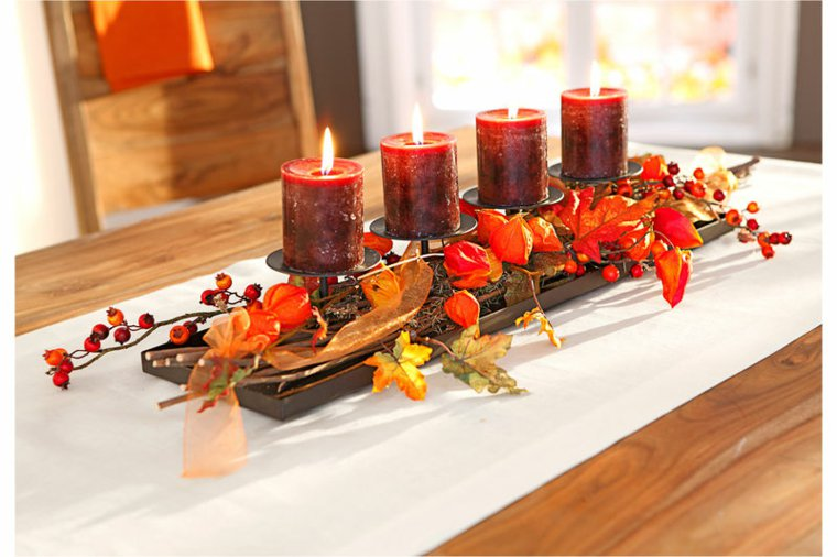 centrotavola autunnali addobbi stagionali candele colorate