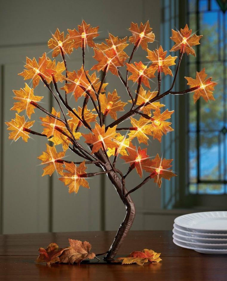 centrotavola autunnali albero finto lucine foglie