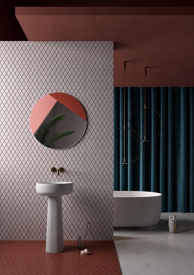 Arredo con colonna lavabo rotonda, vasca da bagno con angoli arrotondati, mobili bagno moderni economici