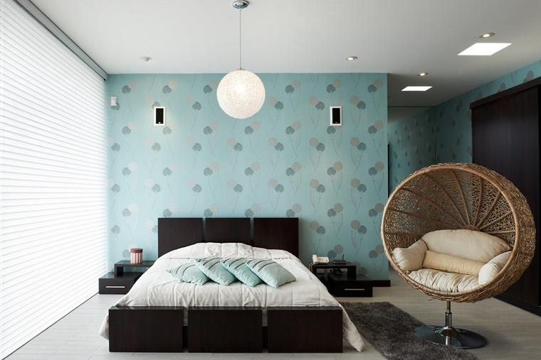 colori pareti blu mobili moderni