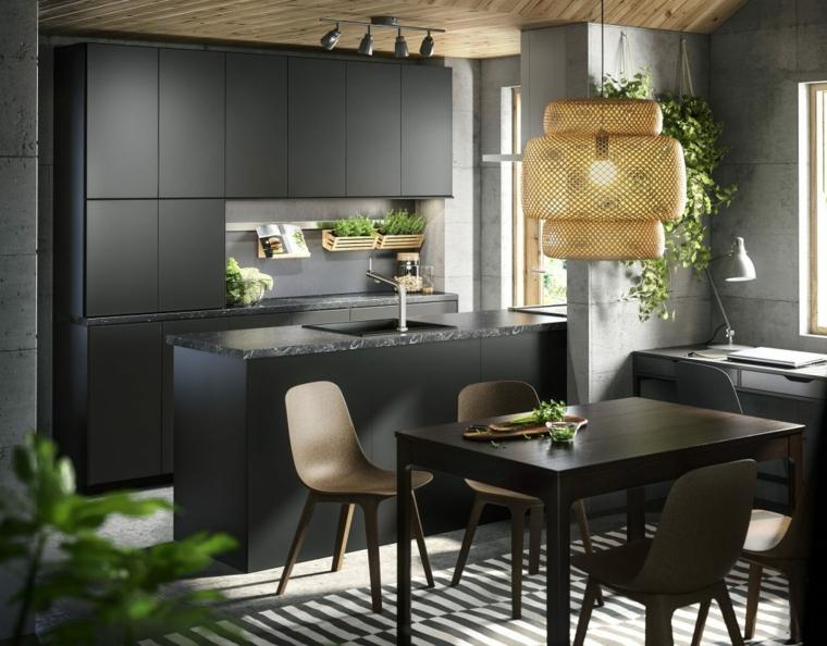 come arredare sala e salotto insieme cucina con isola tavolo da pranzo rettangolare di colore nero