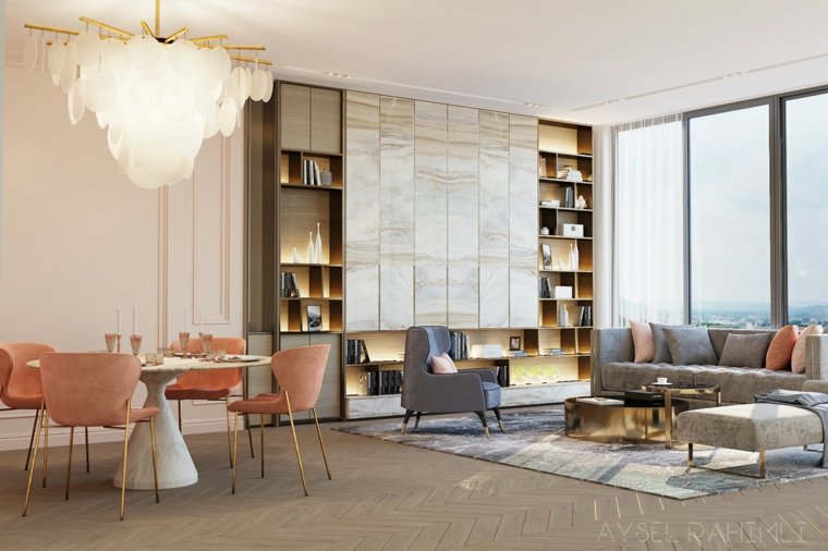 Arredare salotto e sala da pranzo insieme, un divano grigio angolare, tavolo rotondo con sedie