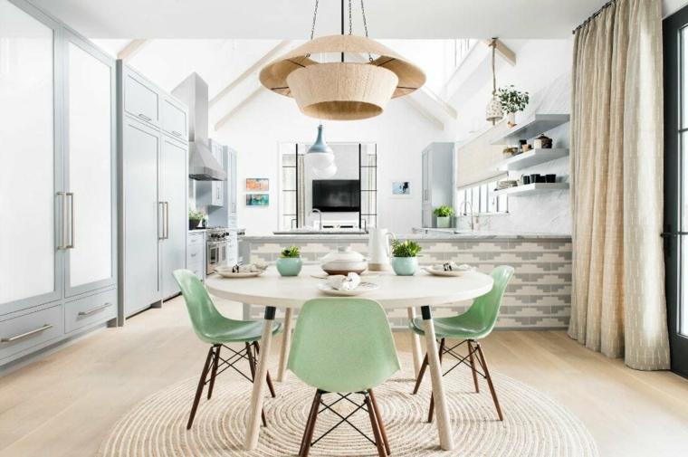 come arredare un salotto con sala da pranzo cucina con isola laterale