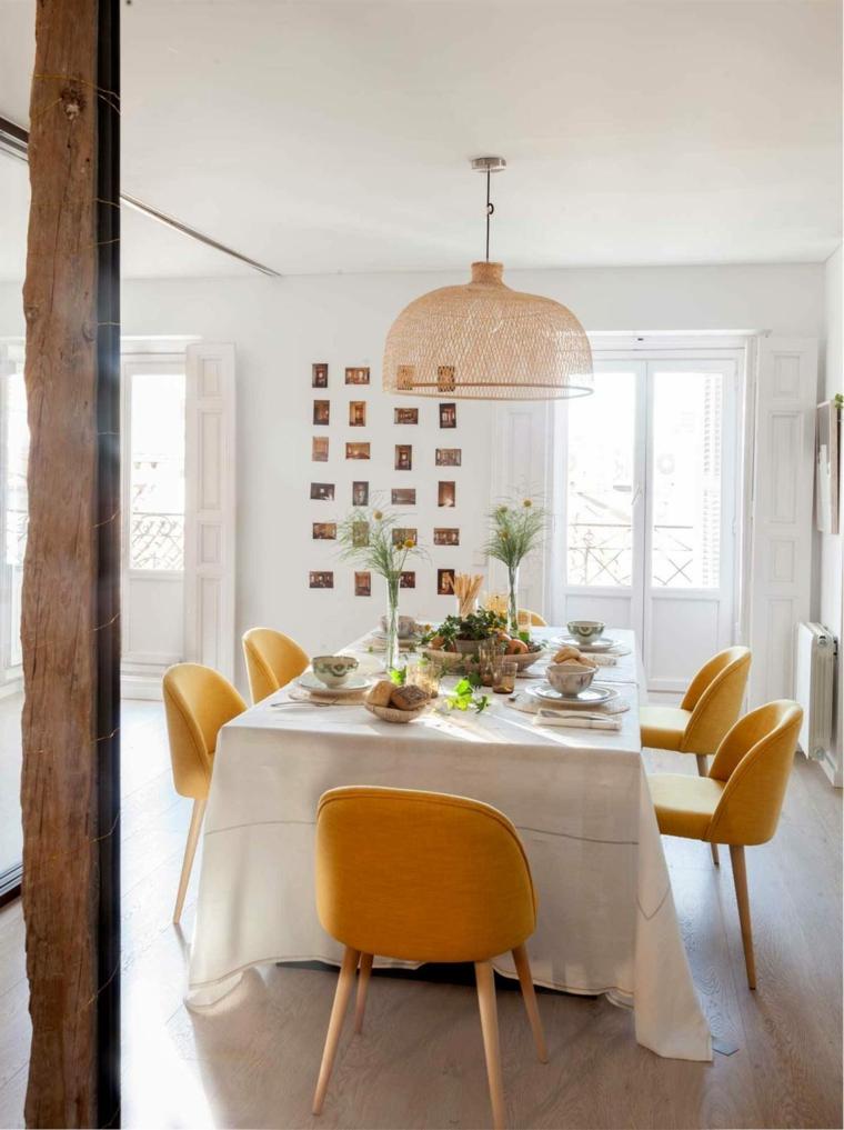 come arredare un salotto con sala da pranzo tavolo rettangolare lungo con tovaglia