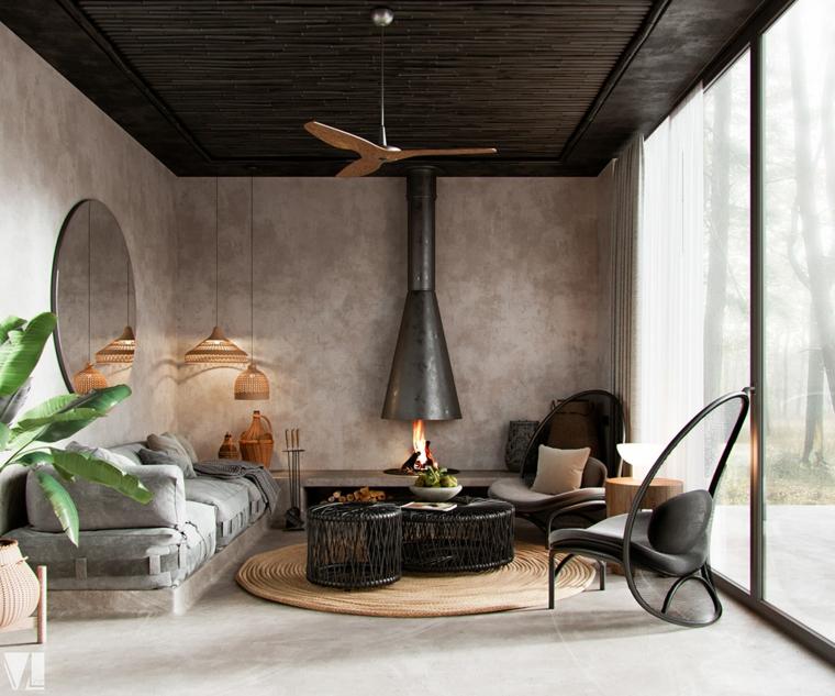 Idee pittura pareti soggiorno, pareti di colore grigio, divano di tessuto colore grigio