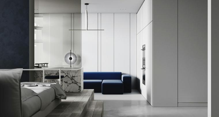 Monolocale con letto e divano, mobili soggiorno componibili, pareti con armadi integrati