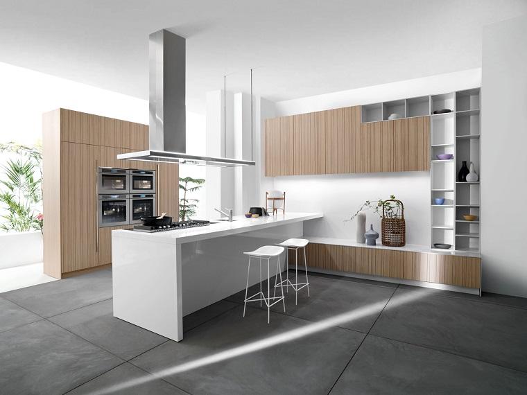 come arredare una cucina stile minimal bianco legno