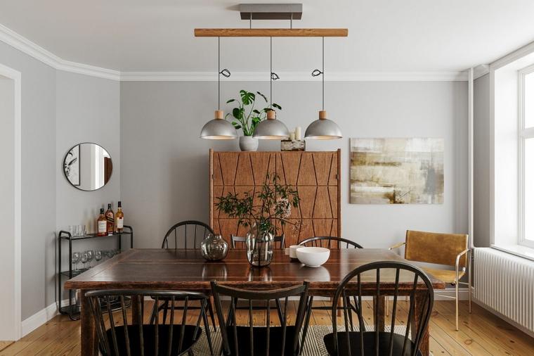 come arredare una sala da pranzo tavolo di legno lampadario sospeso