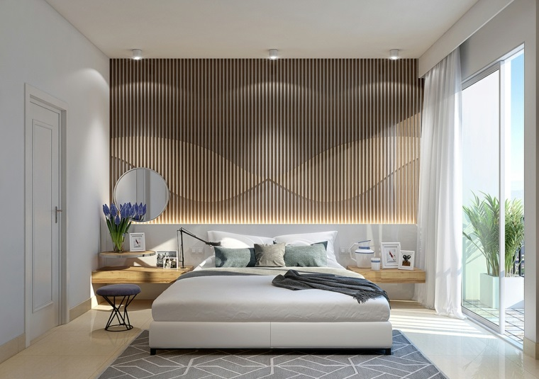 Camere da letto moderne bianche, parete dietro il letto di legno, pavimento con tappeto grigio