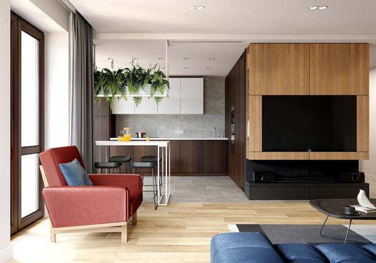 Open space con cucina e soggiorno, salotto moderno, parete con rivestimento in legno