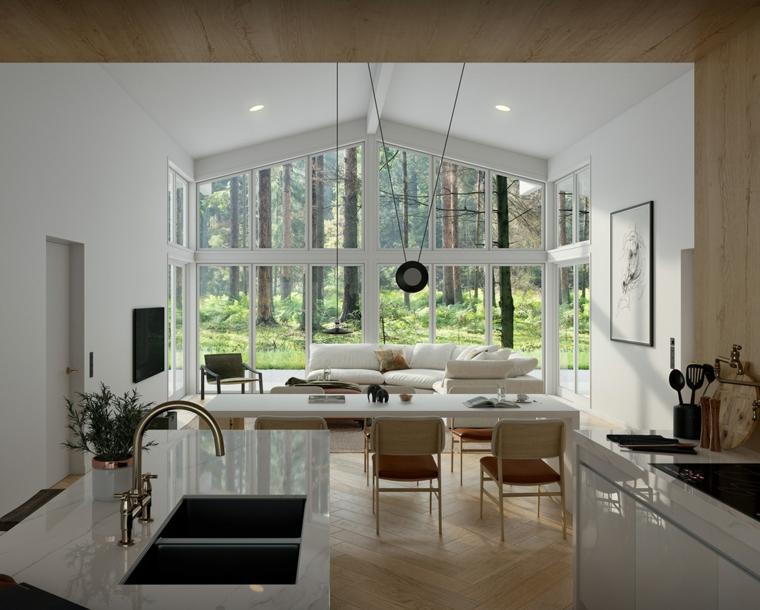Come arredare un salotto, cucina con top in marmo, tavolo da pranzo con sedie