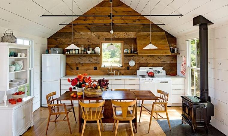 cucina stile accenti legno lampade sospensione