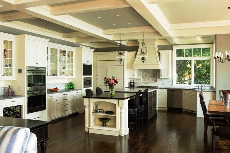 cucina vintage bianco nero isola centrale