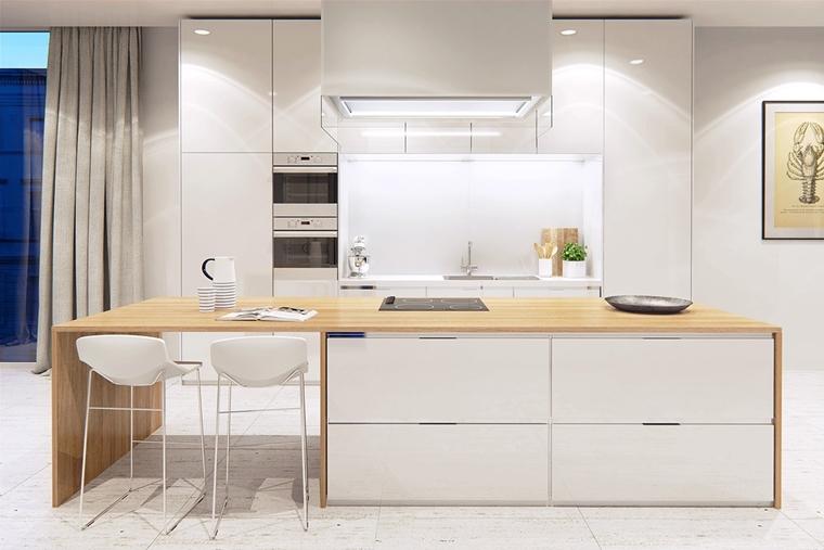 Cucine bianche moderne con inserti in legno le nuove tendenze - Cucine moderne bianche lucide ...