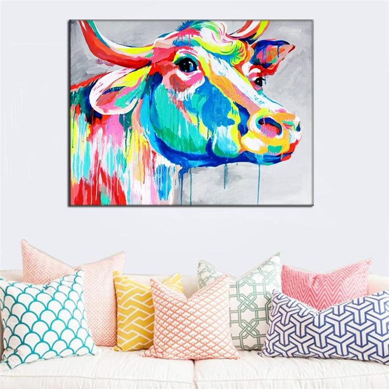 decorare casa cuscini colorati quadro autore