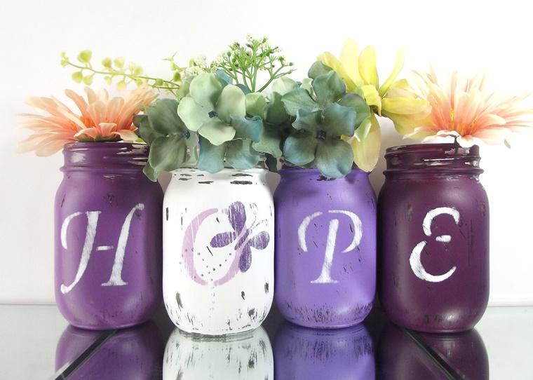 decorare casa idea fai da te barattoli colorati fiori
