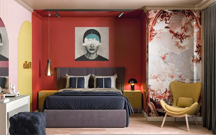 Stanze da letto moderne per ragazze, parete dipinta di rosso, poltrona di colore giallo, parete con disegni