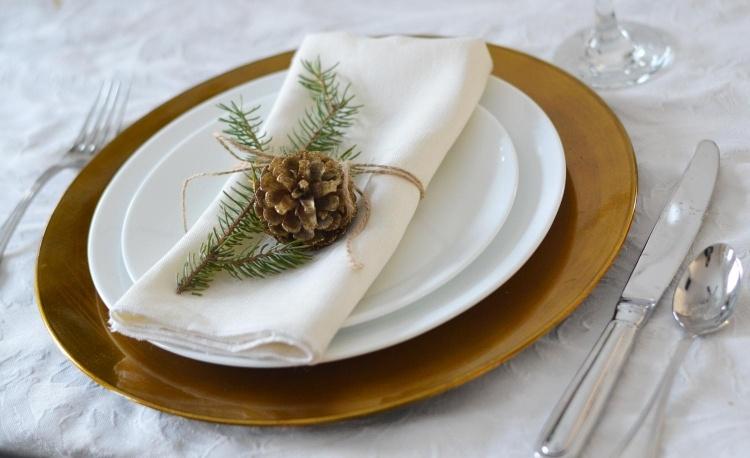 decorazione tavola natale pigna rametto abete