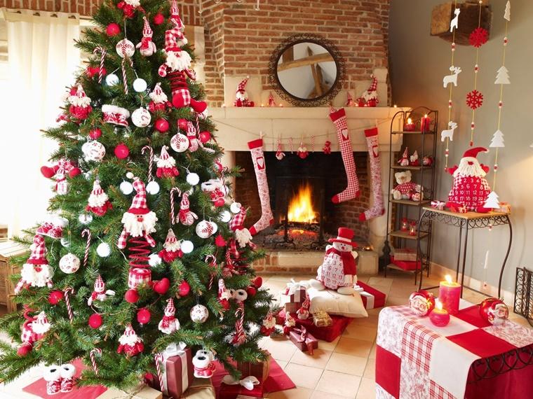 decorazioni albero di natale bianco rosso
