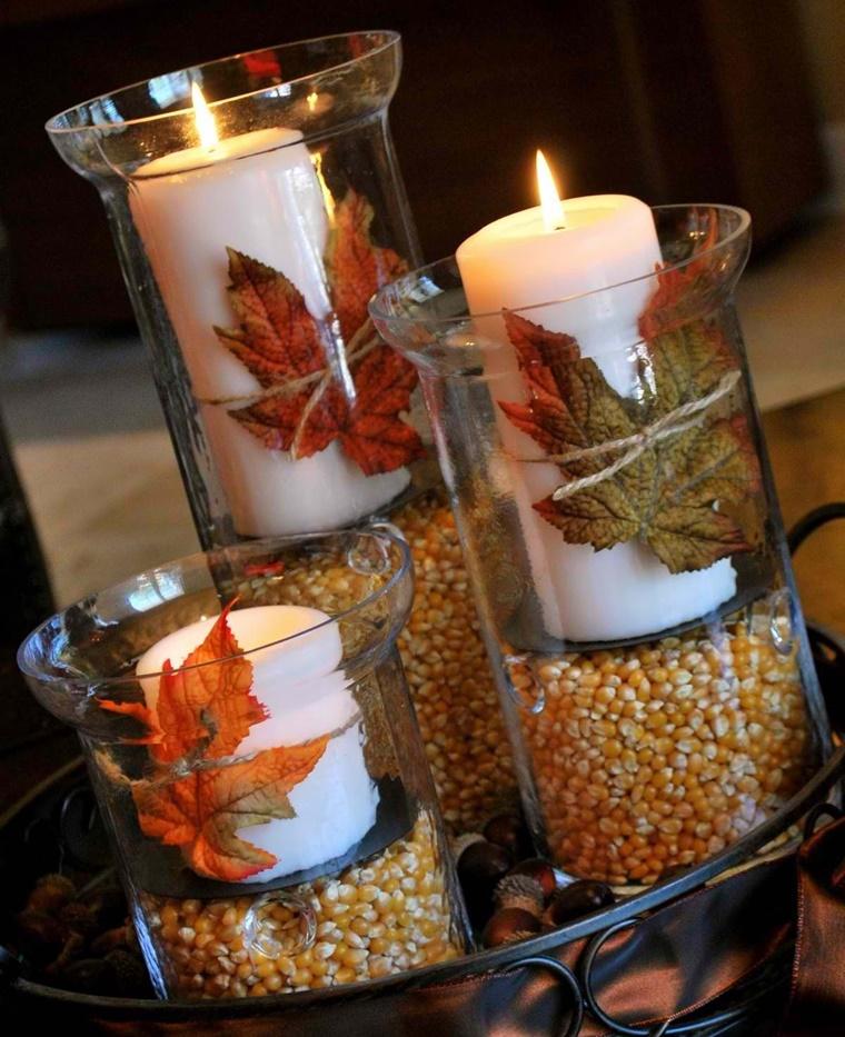 decorazioni candele chicchi mais base