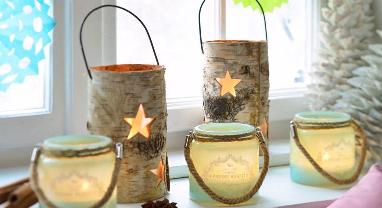 decorazioni di natale legno idea creativa candele