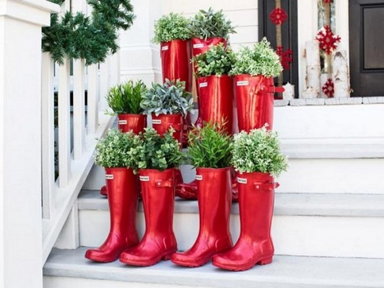 decorazioni fai da te outdoor stivali gomma addobbi natalizi