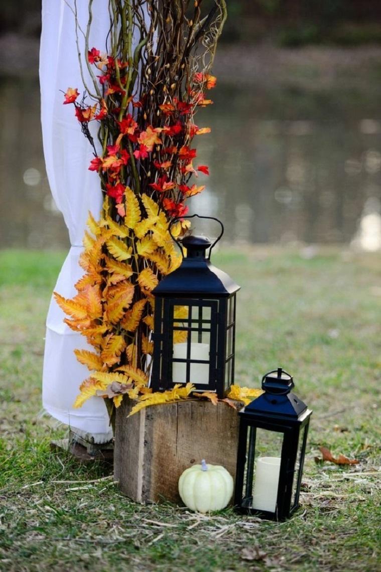 decorazioni giardino idea autunnale lanterne