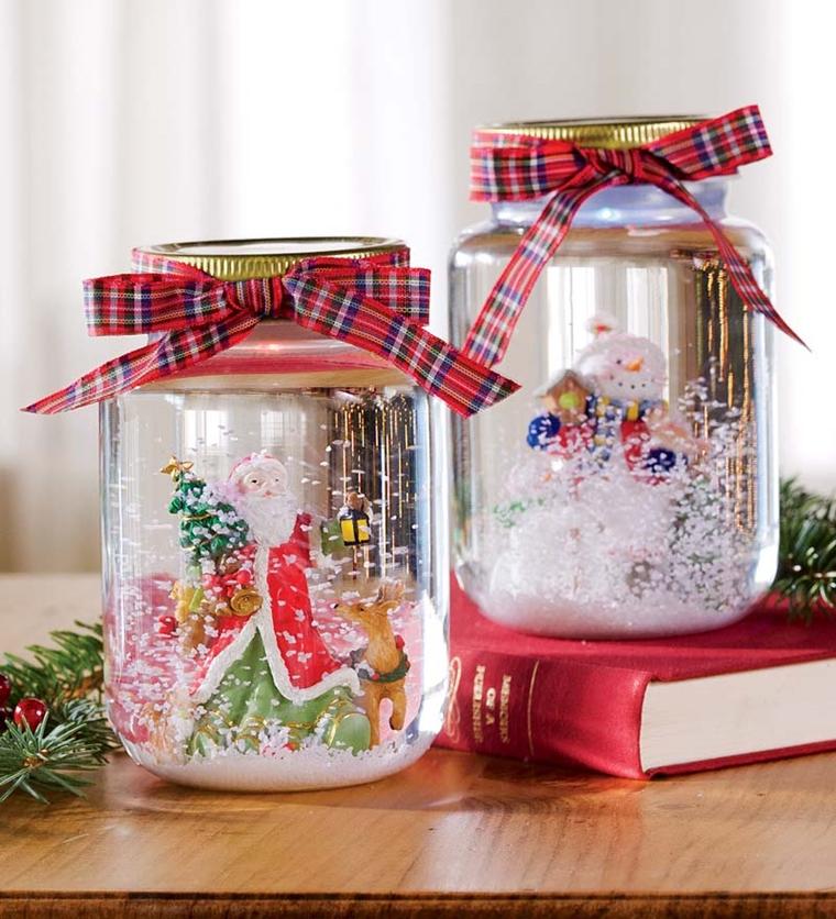 decorazioni natalizie fai te utilizzare barattolo creare palla vetro neve